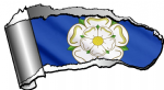 Ripped Open Gash Torn Metal Design With Yorkshire Rose York County Flag Motif External Vinyl Car Sticker 140x75mm